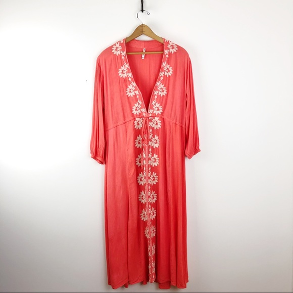 Trendology Dresses & Skirts - Coral Embroidered Boho Maxi Beach Cover Up Dress